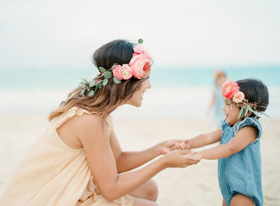 Image result for Mother & daughter in beach