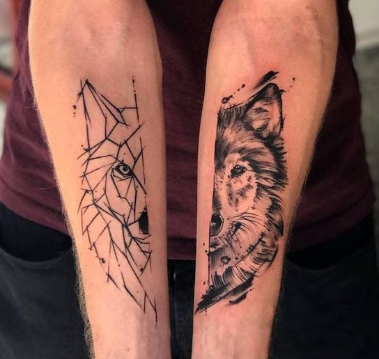 Here Comes A Breathtaking Tattoo For People Are Not At All Interested In Getting Anything Cute Or Colorful Made This Is An Awesome Of Wolf Two