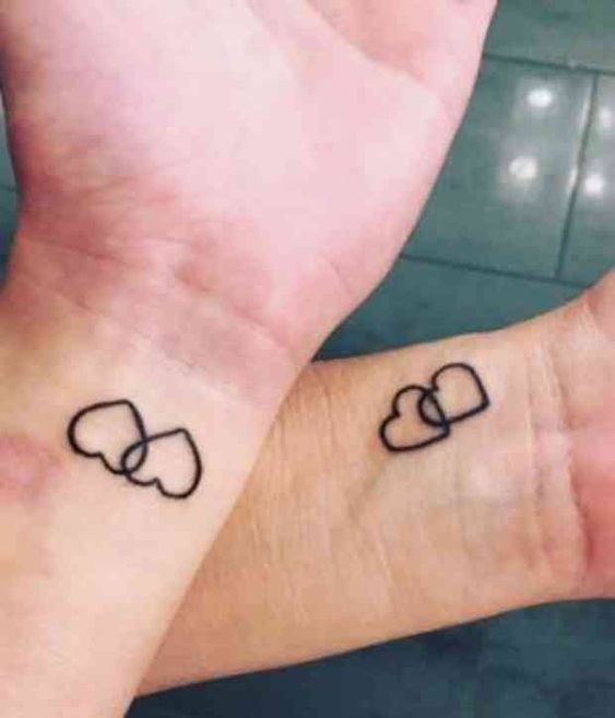 Double Hearts Matching Tattoos Mother Daughter Heart Tattoos