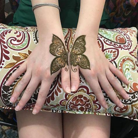 Cute Mehndi Butterfly Design Kids Back Hand Mehndi Designs