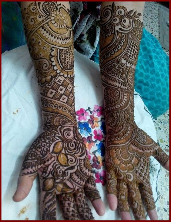 intricate floral mehndi design for full arms   full arm