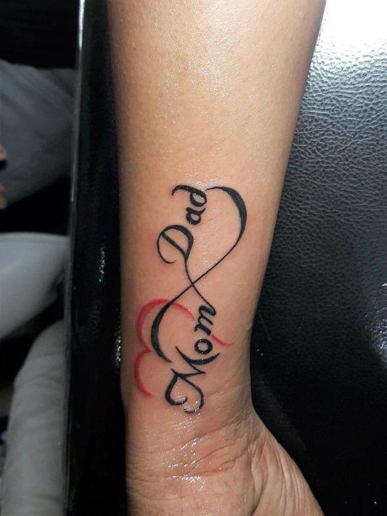 Colorful Mom Dad Tattoo Mom Dad Simple Tattoos Simple Tattoos