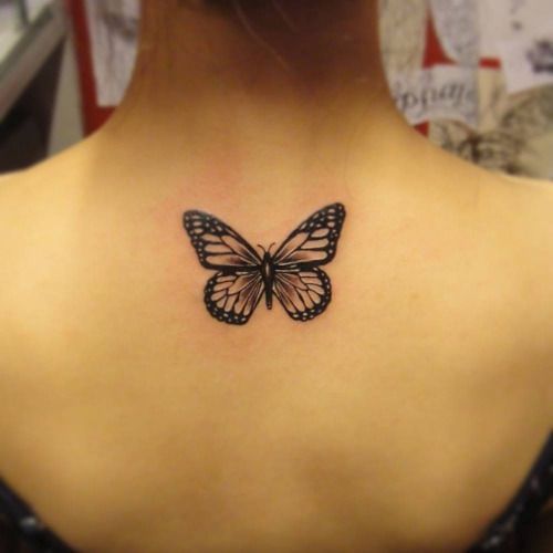 e51587c022cd1 Back tattoos look extremely elegant and women never seem to get enough of  them. Here is a stunning butterfly tattoo that has been made on the back.