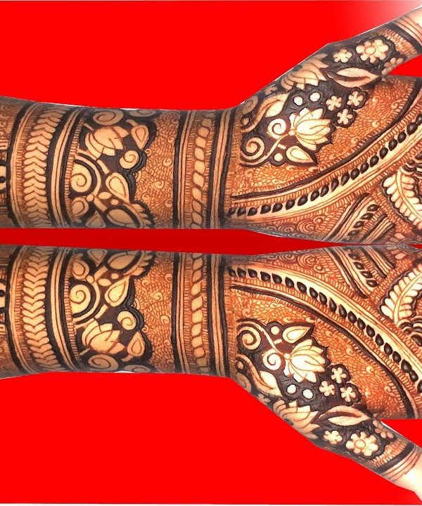 Gleam Lotus Style Bridal Mehndi Designs for arms , Lotus